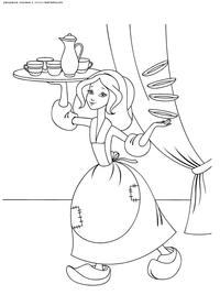 Золушка прислуживает мачехе и сестрам - скачать и распечатать раскраску. Раскраска Золушка с подносом, Золушка несет посуду, Золушка в старом платье раскраска