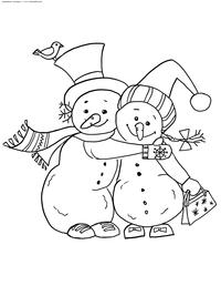 Снеговики - скачать и распечатать раскраску. Раскраска снеговик