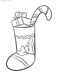 Рождественский носок - скачать и распечатать раскраску. Раскраска носок