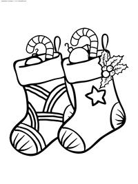 Рождественские носки - скачать и распечатать раскраску. Раскраска носки