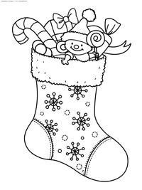 Рождественский носок - скачать и распечатать раскраску. Раскраска носок, подарок
