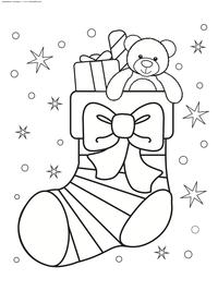 Рождественский носок с подарками - скачать и распечатать раскраску. Раскраска носок