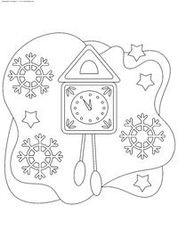 Часы-ходики - скачать и распечатать раскраску. Раскраска часы, ходики, новый год