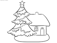 Зимний дом и новогодняя елка - скачать и распечатать раскраску. Раскраска зима, дом, елка