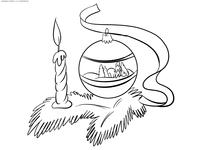 Рождество - скачать и распечатать раскраску. Раскраска елочный шар, свеча, ель
