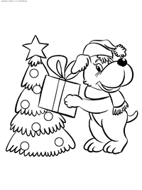 Новый год  - скачать и распечатать раскраску. Раскраска новый год, собака, подарок, елка