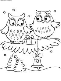 Новый год - скачать и распечатать раскраску. Раскраска сова, подарок, колокольчик, зима