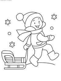 Зима - скачать и распечатать раскраску. Раскраска мальчик, зима, санки