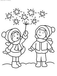 Бенгальские огни - скачать и распечатать раскраску. Раскраска новый год, праздник, зима, дети