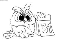 31 декабря - скачать и распечатать раскраску. Раскраска сова, календарь