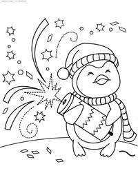 Новогодняя хлопушка - скачать и распечатать раскраску. Раскраска пингвин, новый год