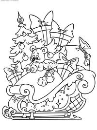 Сани с подарками - скачать и распечатать раскраску. Раскраска сани, подарки