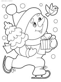 Снеговик с подарком - скачать и распечатать раскраску. Раскраска снеговик, новый год, зима