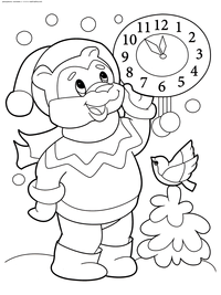 Медвежонок встречает Новый год - скачать и распечатать раскраску. Раскраска медвежонок, зима. новый год