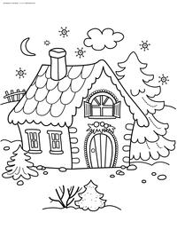 Зимний домик - скачать и распечатать раскраску. Раскраска зима, дом, елка