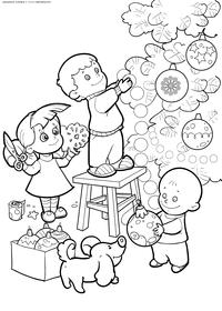 Дети украшают елку - скачать и распечатать раскраску. Раскраска новый год