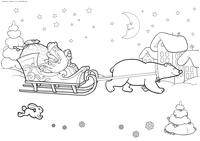 Дед Мороз и Снегурочка в санях - скачать и распечатать раскраску. дед мороз, снегурочка, сани, зима