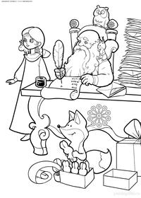 Дед Мороз разбирает письма  - скачать и распечатать раскраску. Раскраска дед мороз, снегурочка