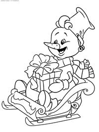 Снеговик везет подарки - скачать и распечатать раскраску. Раскраска снеговик. сани, подарки