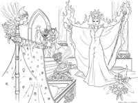 Проклятие - скачать и распечатать раскраску. Раскраска Малефисента, фея, волшебница. колыбель, принцесса