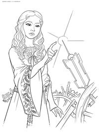 Принцесса Аврора - скачать и распечатать раскраску. Раскраска принцесса, веретено