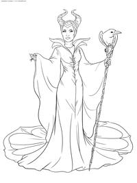 Малефисента - скачать и распечатать раскраску. фея, волшебница