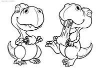 Динозаврики обедают - скачать и распечатать раскраску. Раскраска динозавр