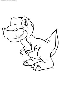 Динозаврик - скачать и распечатать раскраску. Раскраска динозавр