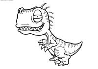 Малыш тиранозавра - скачать и распечатать раскраску. Раскраска динозавр