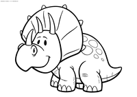 Малыш трицератопс - скачать и распечатать раскраску. Раскраска динозавр