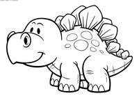 Малыш стегозавр - скачать и распечатать раскраску. Раскраска динозавр