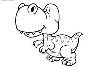 Детёныш велоцираптора - скачать и распечатать раскраску. Раскраска динозавр