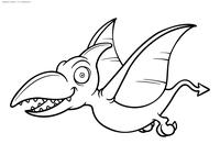 Птеродактиль - скачать и распечатать раскраску. Раскраска динозавр