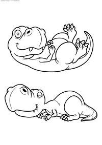 Малыши тиранозавра - скачать и распечатать раскраску. Раскраска динозавр