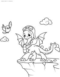 Дракончик учится летать - скачать и распечатать раскраску. Раскраска дракон