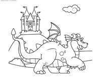 Дракон охраняет замок - скачать и распечатать раскраску. Раскраска дракон, замок