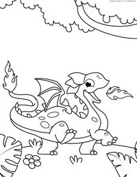 Веселый дракончик - скачать и распечатать раскраску. Раскраска дракон