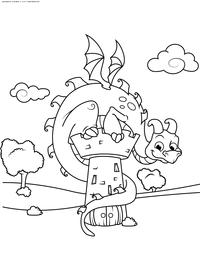 Дракон сидит на замке - скачать и распечатать раскраску. Раскраска дракон