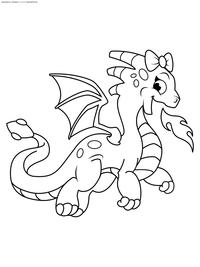 Дракончик пускает огонь - скачать и распечатать раскраску. дракон