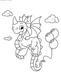 Дракоша в воздухе - скачать и распечатать раскраску. Раскраска дракон