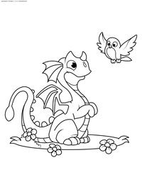 Дракончик и птичка - скачать и распечатать раскраску. Раскраска дракон