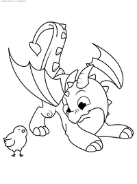 Дракончик играет с цыпленком - скачать и распечатать раскраску. Раскраска дракон