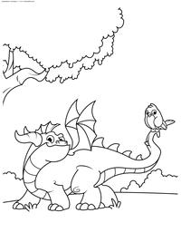 Дракон на прогулке - скачать и распечатать раскраску. Раскраска дракон