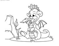 Дракончик - скачать и распечатать раскраску. Раскраска дракон