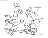 Дракон и рыцарь - скачать и распечатать раскраску. Раскраска дракон