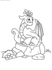 Дракон на камне - скачать и распечатать раскраску. Раскраска дракон