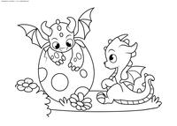 Маленькие дракончики - скачать и распечатать раскраску. Раскраска дракон