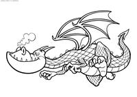 Дракон отдыхает - скачать и распечатать раскраску. Раскраска дракон
