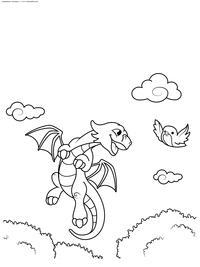 Дракончик любит летать - скачать и распечатать раскраску. Раскраска дракон, птичка