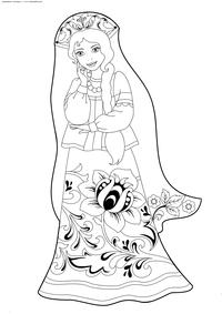 Русская красавица - скачать и распечатать раскраску. Раскраска хохлома, девушка. красавица